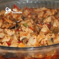 fırında mantarlı kaşarlı tavuk sote